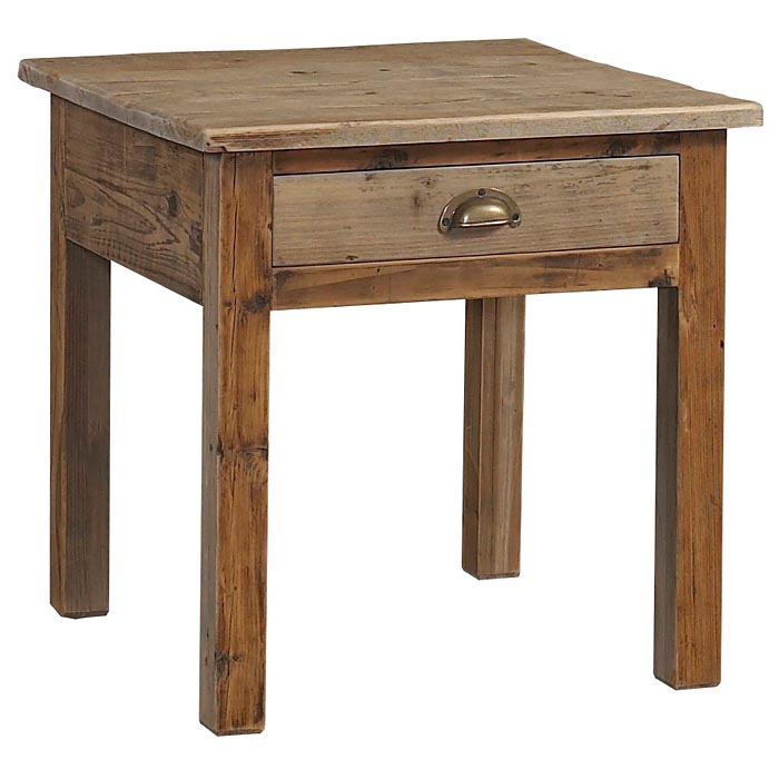 Salvaged Wood Square End Table / Nightstand - 1 Drawer - PAD-SAL06