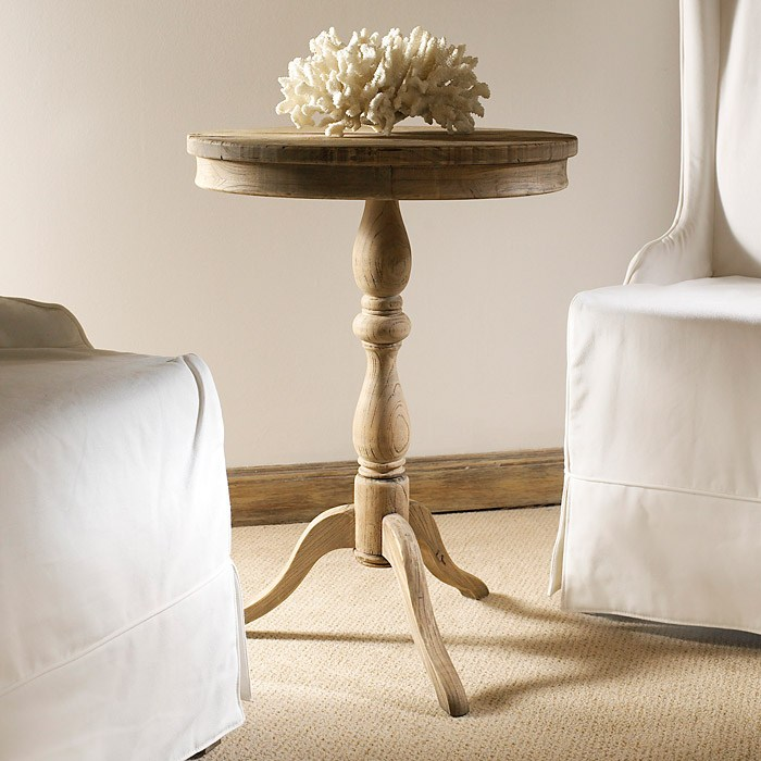 Salvaged Wood Round Side Table - Spider Leg Pedestal Base - PAD-SAL10