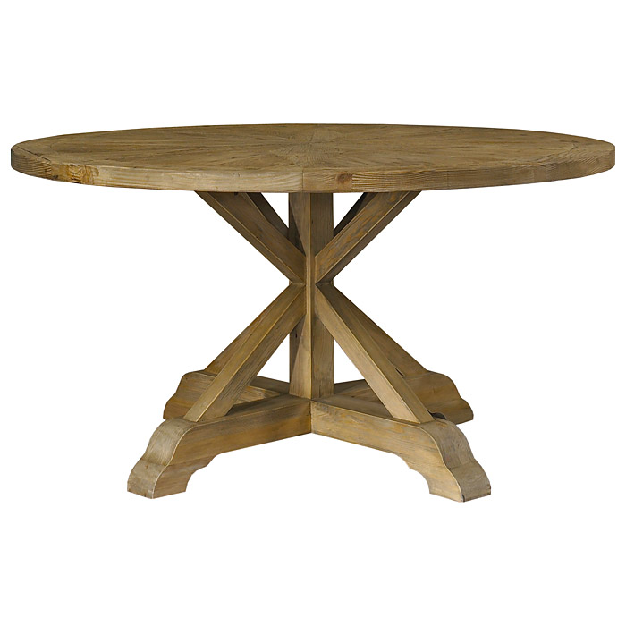 Salvaged Wood Round Dining Table   Pedestal Base   PAD SAL13 60 ...