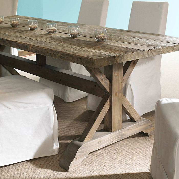 Salvaged Wood Rectangular Dining Table Natural Trestle Base DCG - Outdoor wood rectangular dining table