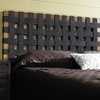 sea grass open weave headboard  black, natural teak frame  dcg, Headboard designs