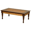 Trinidad Coffee Table - Rattan Weave, Mahogany Legs - PAD-T110