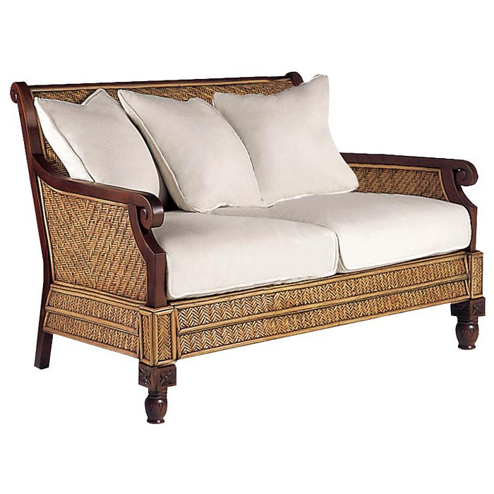 Trinidad loveseat rattan weave cushions dcg stores for Living room furniture trinidad