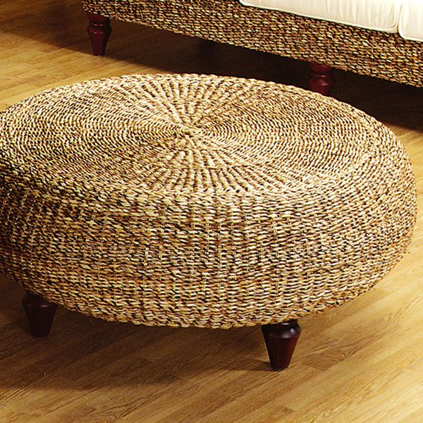 Tropical Round Ottoman Coffee Table Natural Banana