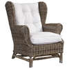 Wingback Lounge Chair - White Cushion, Gray Kubu Wicker - PAD-WNG01-KUBU