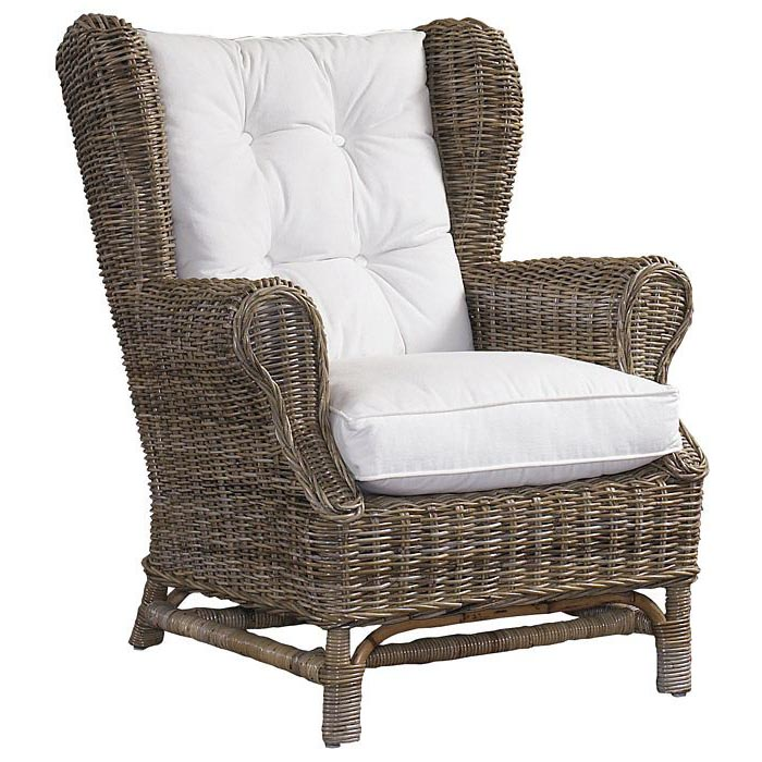 Attrayant Wingback Lounge Chair   White Cushion, Gray Kubu Wicker   PAD WNG01 KUBU ...