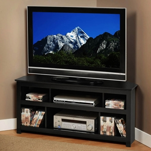 Vasari Black Corner Flat Panel LCD TV Console
