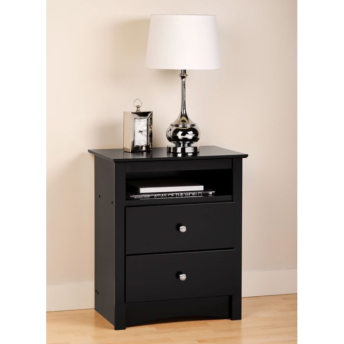 Sonoma tall nightstand with open shelf black dcg stores How tall is a nightstand
