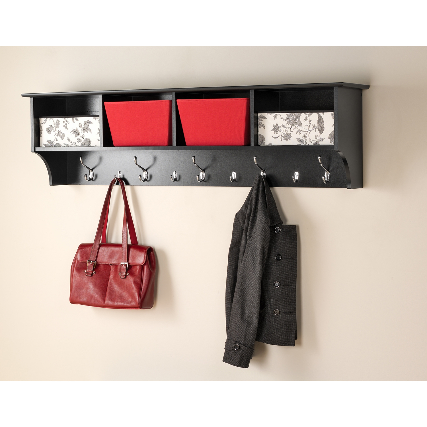 60 Inch Wide Hanging Entryway Shelf - Black - PRE-BEC-6016