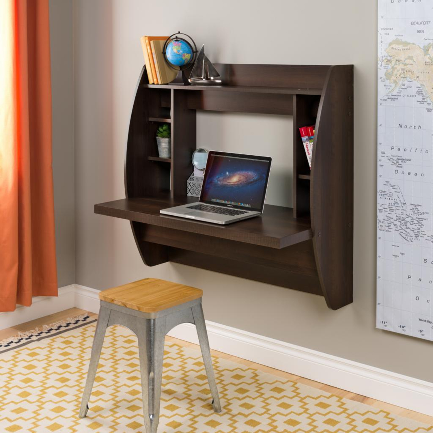 Floating Desk with Storage - Espresso - PRE-EEHW-0200-1