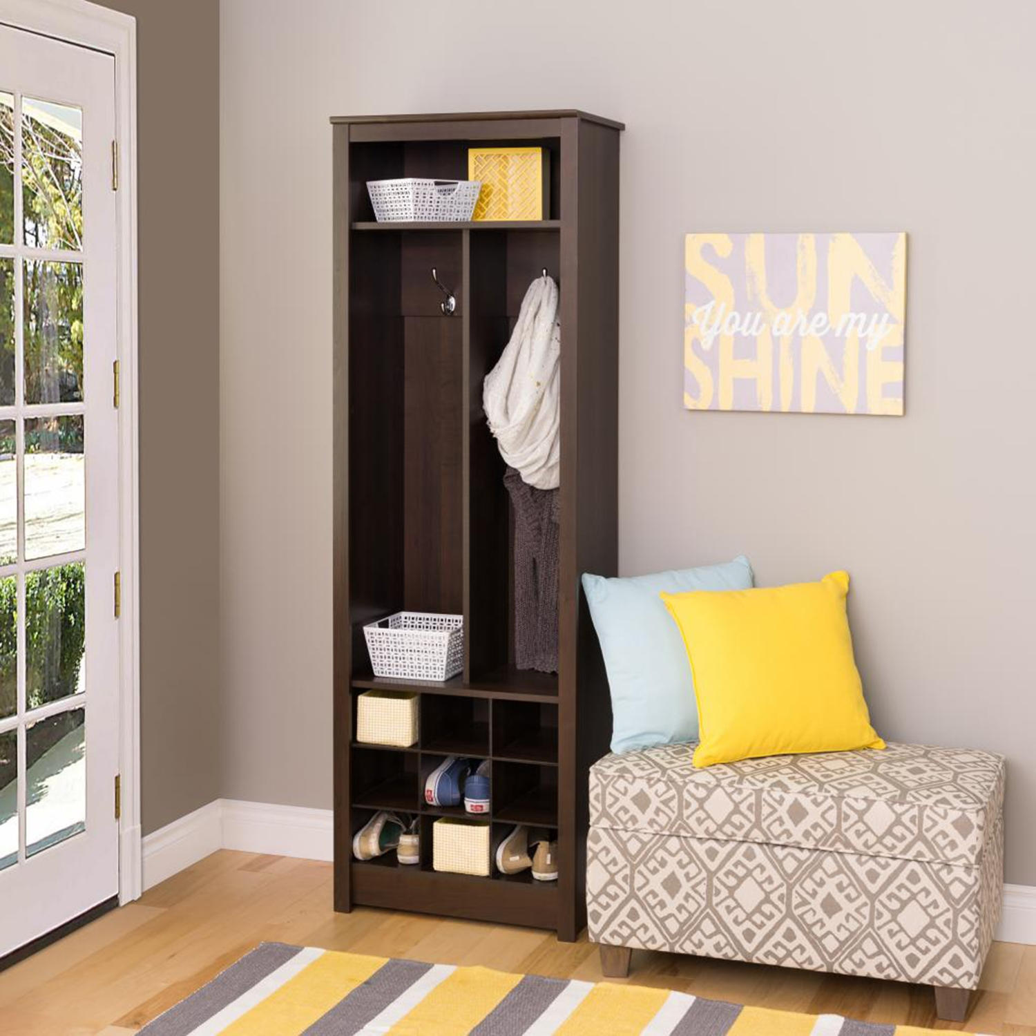 Space-Saving Entryway Organizer with Shoe Storage - Espresso - PRE-ESOH-0010-1