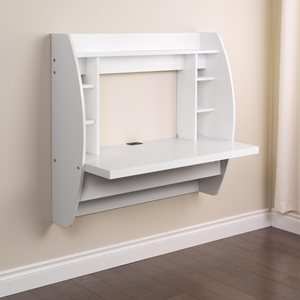 Floating Desk with Storage - White