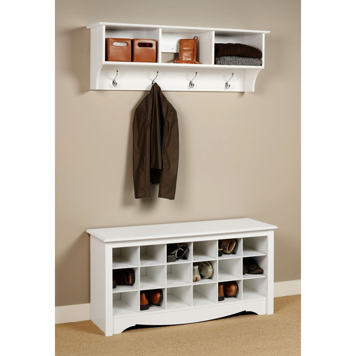 Sonoma White Shoe Storage Cubbie Bench - PRE-WSS-4824