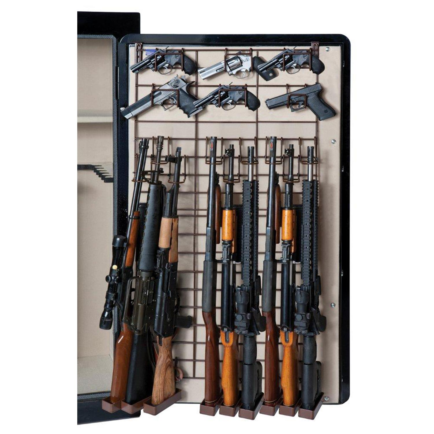The Maximizer Full Door Gun Safe Organizer - 9 Rifles, 18 Pistols - RCKM-6047