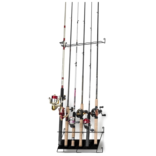 Deluxe vertical fishing rod rack 6 rods dcg stores for Vertical fishing rod holders