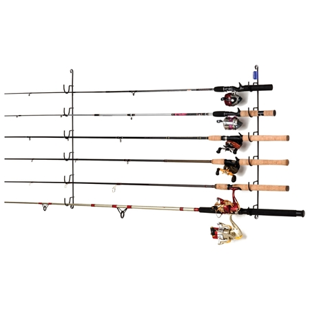 Horizontal fishing rod rack coated wire 6 rods dcg stores for Horizontal fishing rod rack