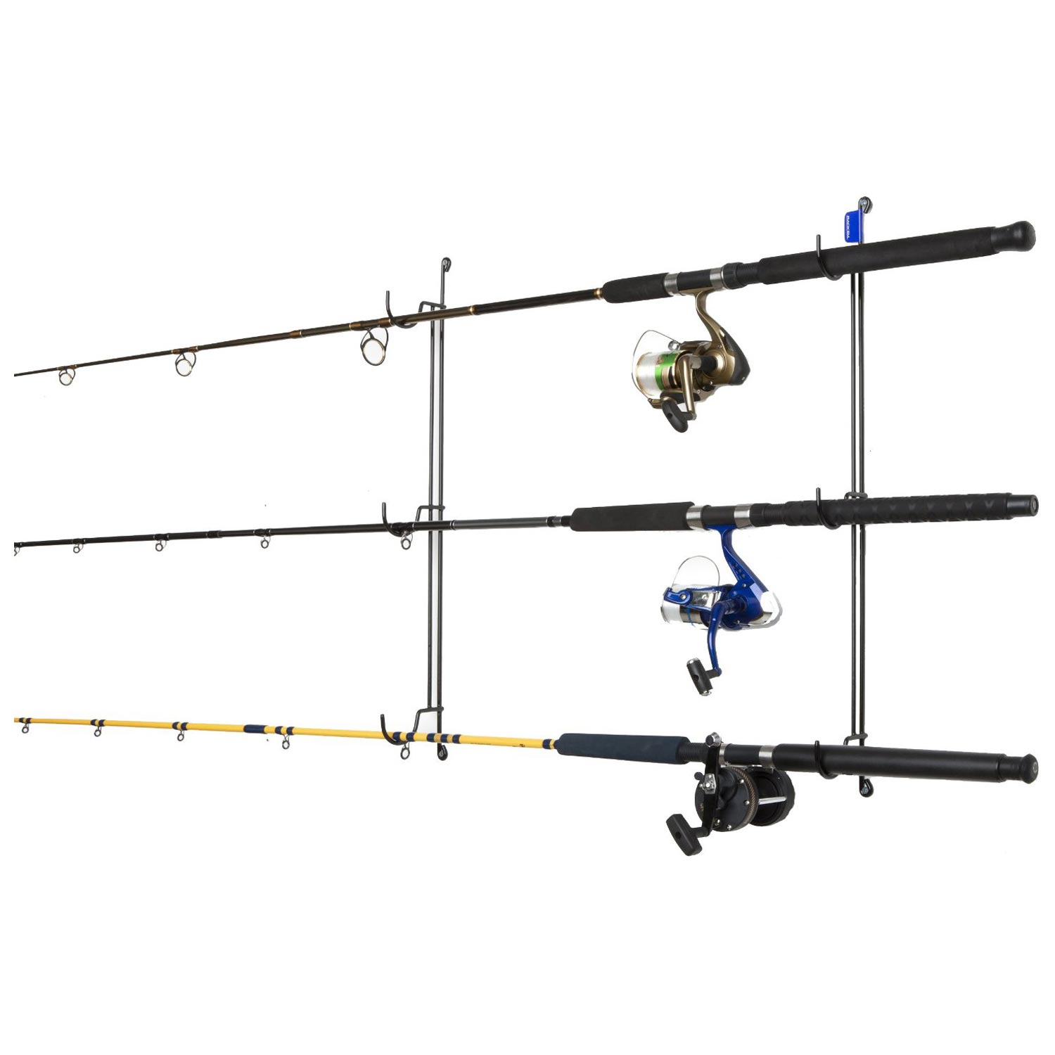 Horizontal fishing rod rack coated wire 3 rods dcg stores for Horizontal fishing rod rack