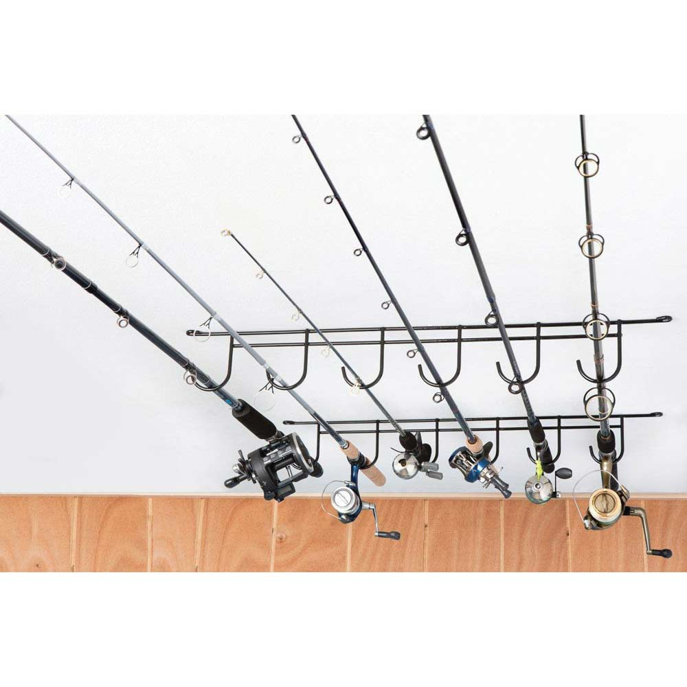 Overhead fishing rod rack coated wire 6 rods dcg stores for Wire fishing rod