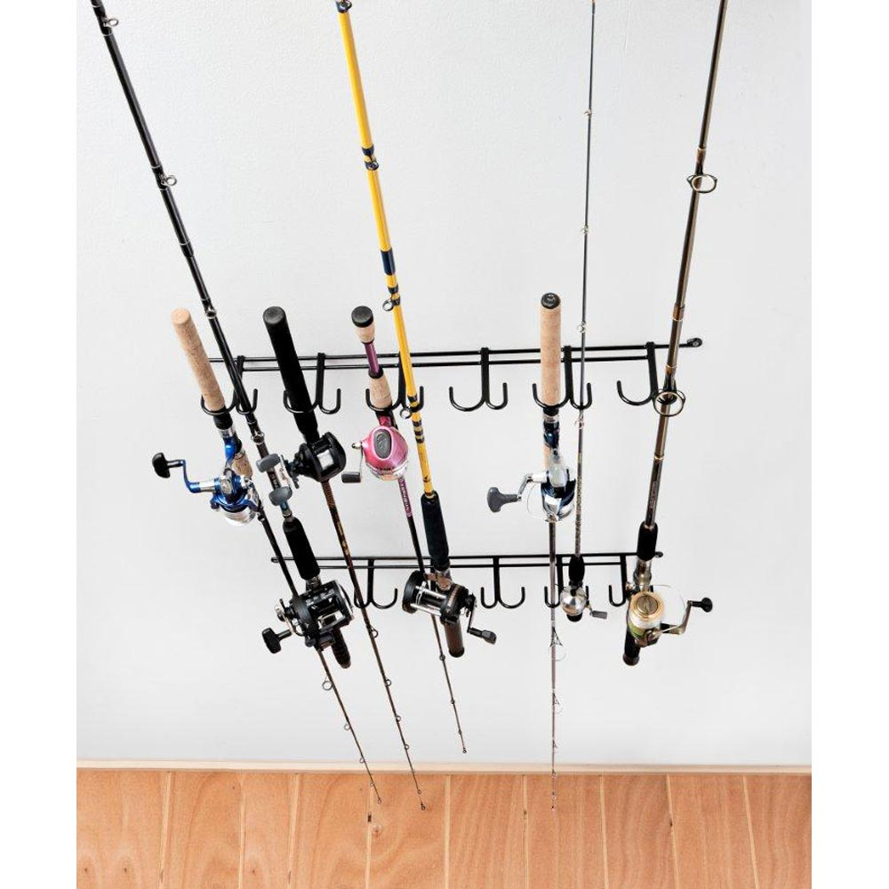 Overhead fishing rod rack coated wire 12 rods dcg stores for Wire fishing rod