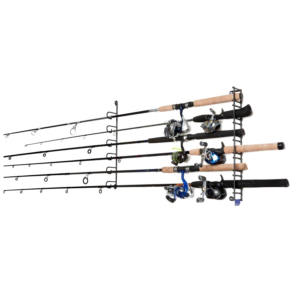 Mount anywhere fishing rod rack coated wire 6 rods for Fishing rod rack