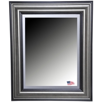 Wall Mirror - Antique Smoke & Black Frame, Beveled Glass
