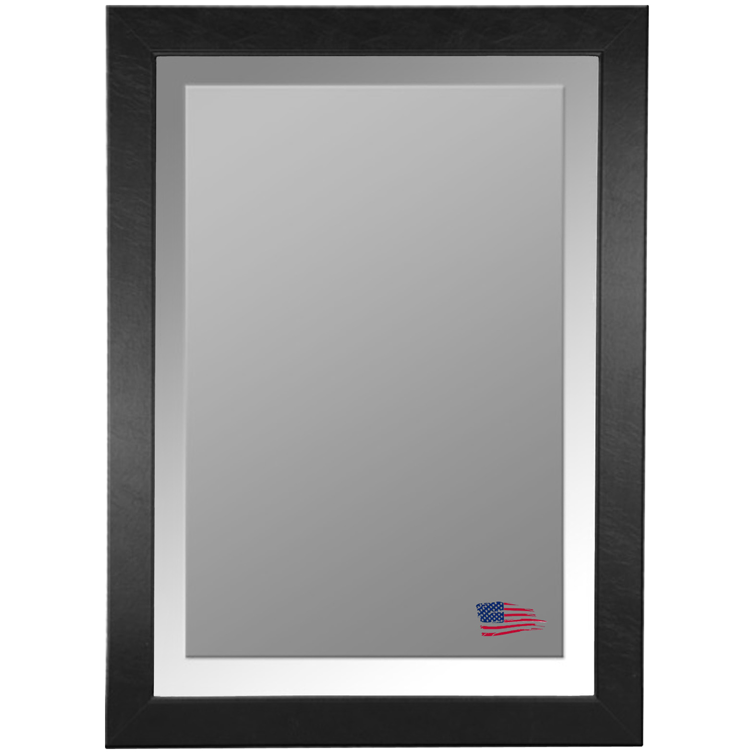 Wall Mirror - Black Leather Frame, Beveled Glass - RAY-R012