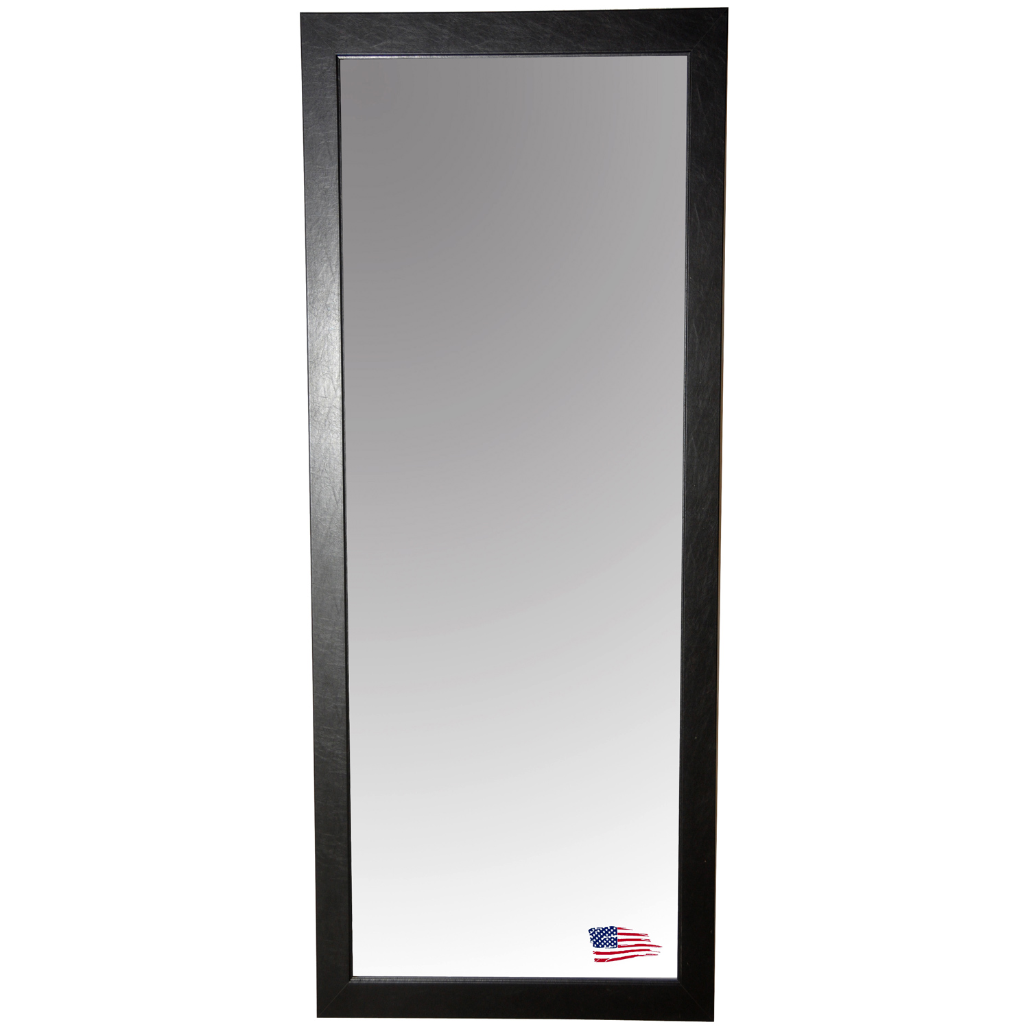 Rectangular Mirror - Black Leather Frame - RAY-R012T