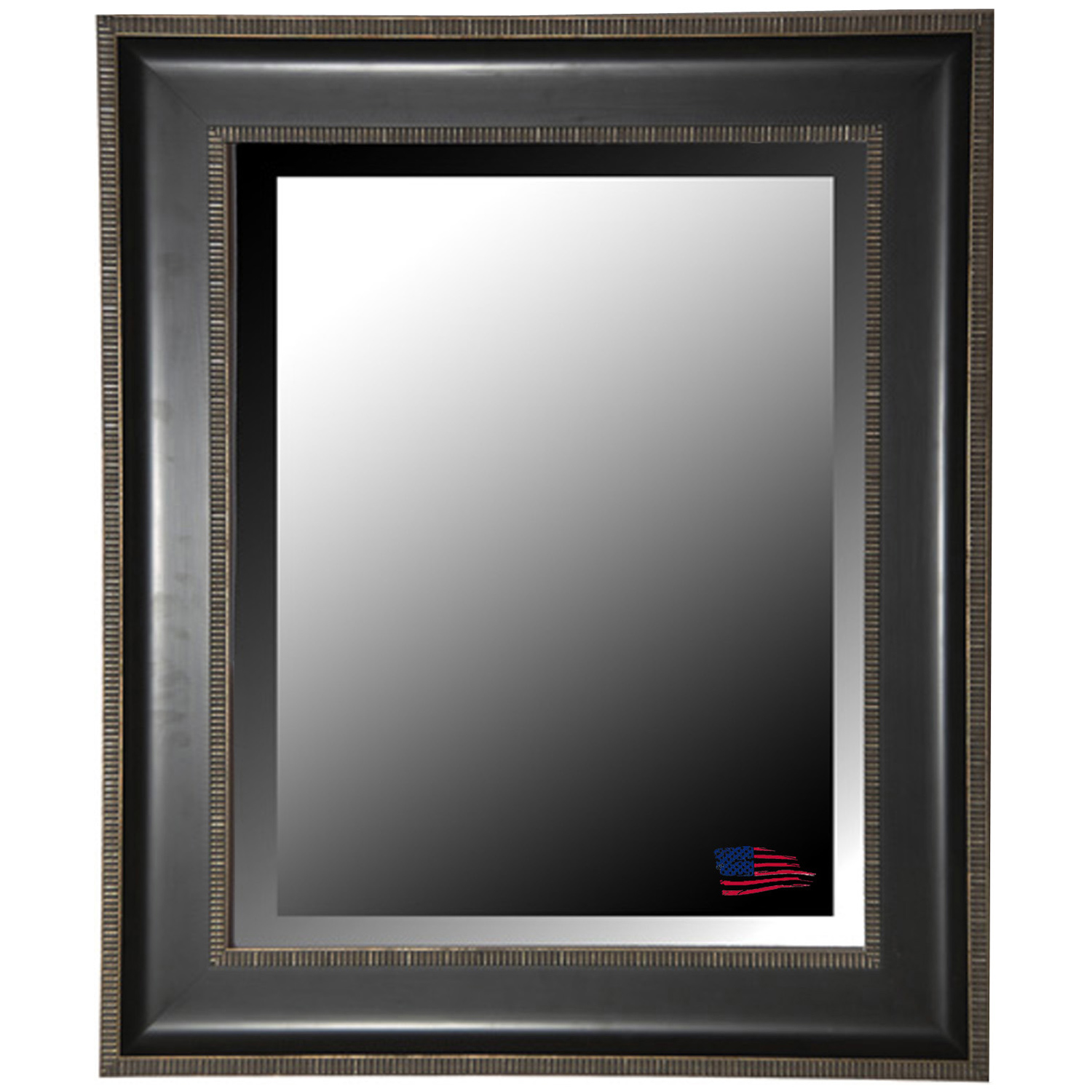 Wall Mirror - Black & Silver Caged Trim Frame, Beveled Glass - RAY-R008