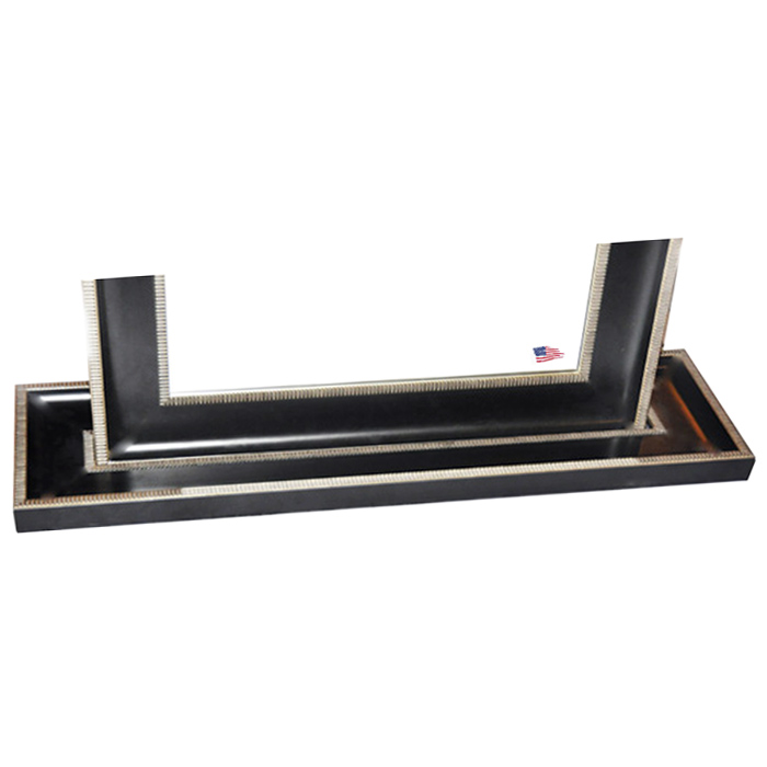Floor mirror black silver caged trim frame dcg stores for Black framed floor mirror