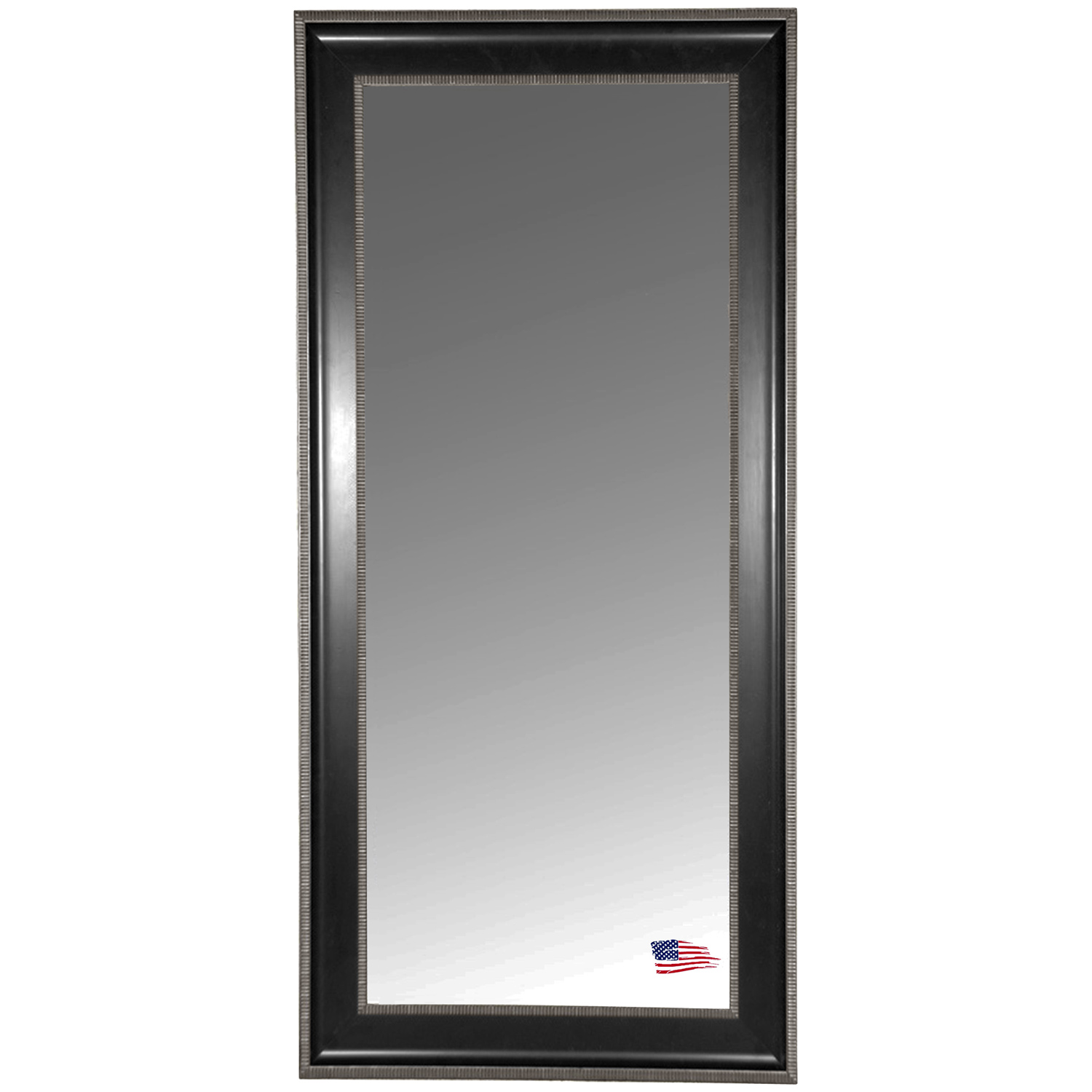 Rectangular Mirror - Black & Silver Caged Trim Frame - RAY-R008T