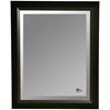 Hanging Mirror - Black Frame, Brown Wood Lining, Beveled Glass - RAY-R011