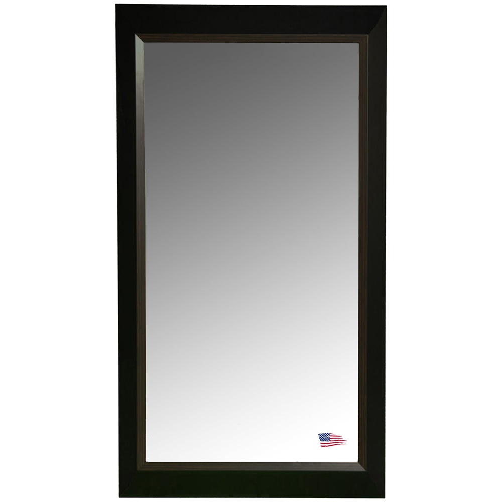 Rectangular Mirror - Black Frame, Brown Wood Lining | DCG Stores