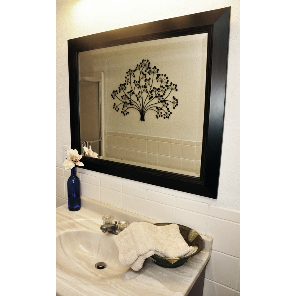 Hanging mirror black frame brown wood lining beveled for Hanging mirror