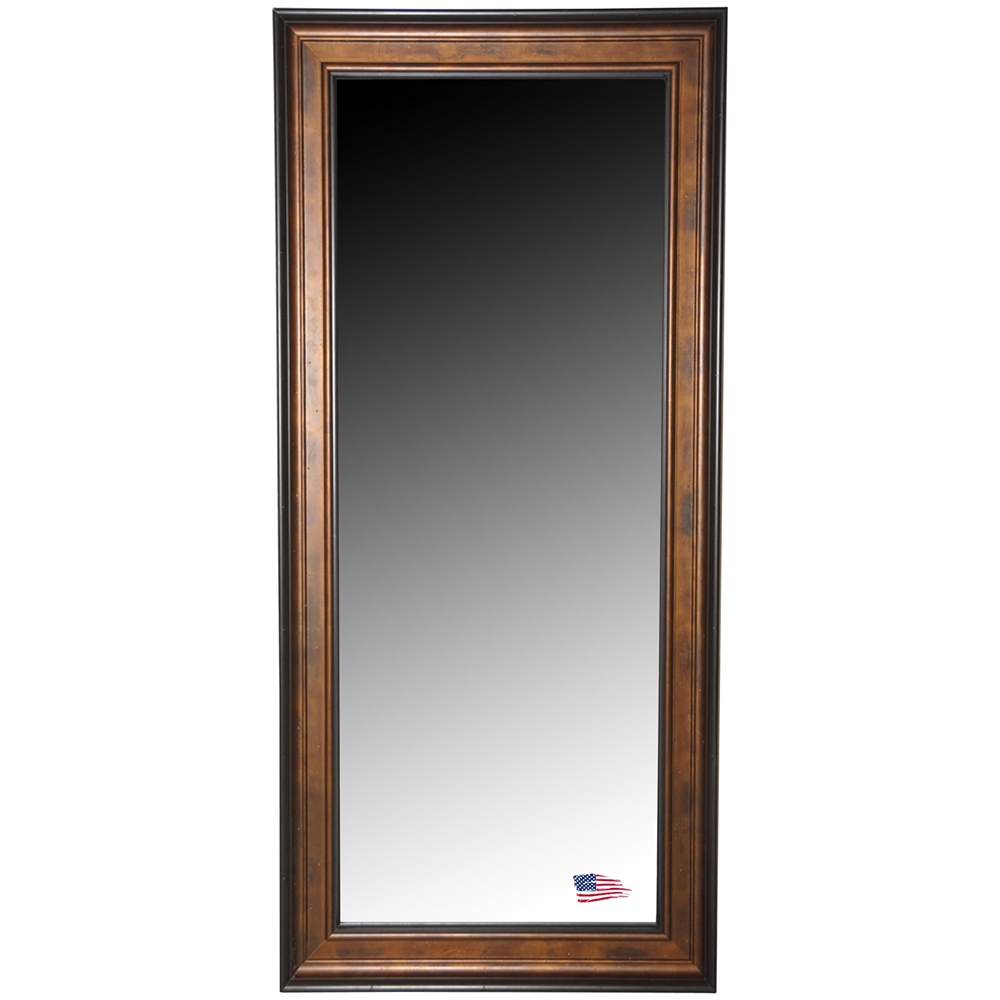 Full length floor mirror bronze finished frame black for Black framed floor mirror