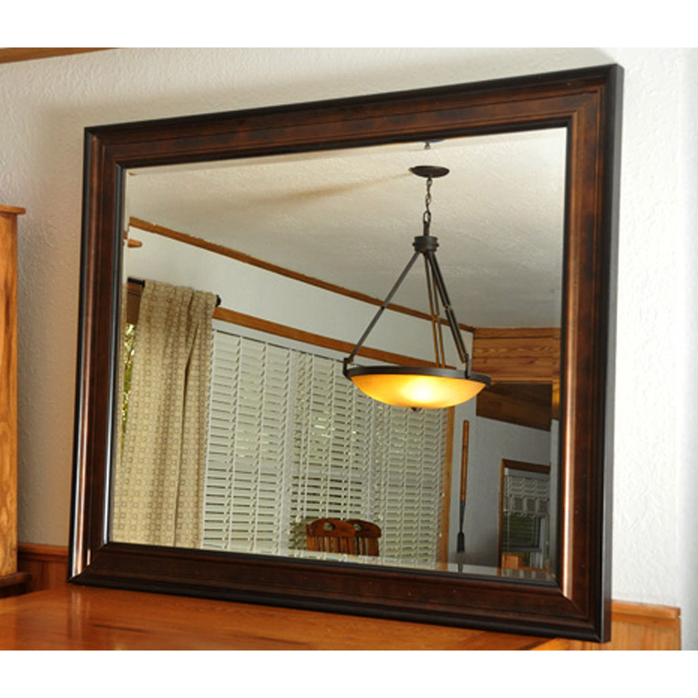Wall Mirror - Bronze Finished Frame, Black Trim, Beveled Glass - RAY-R015