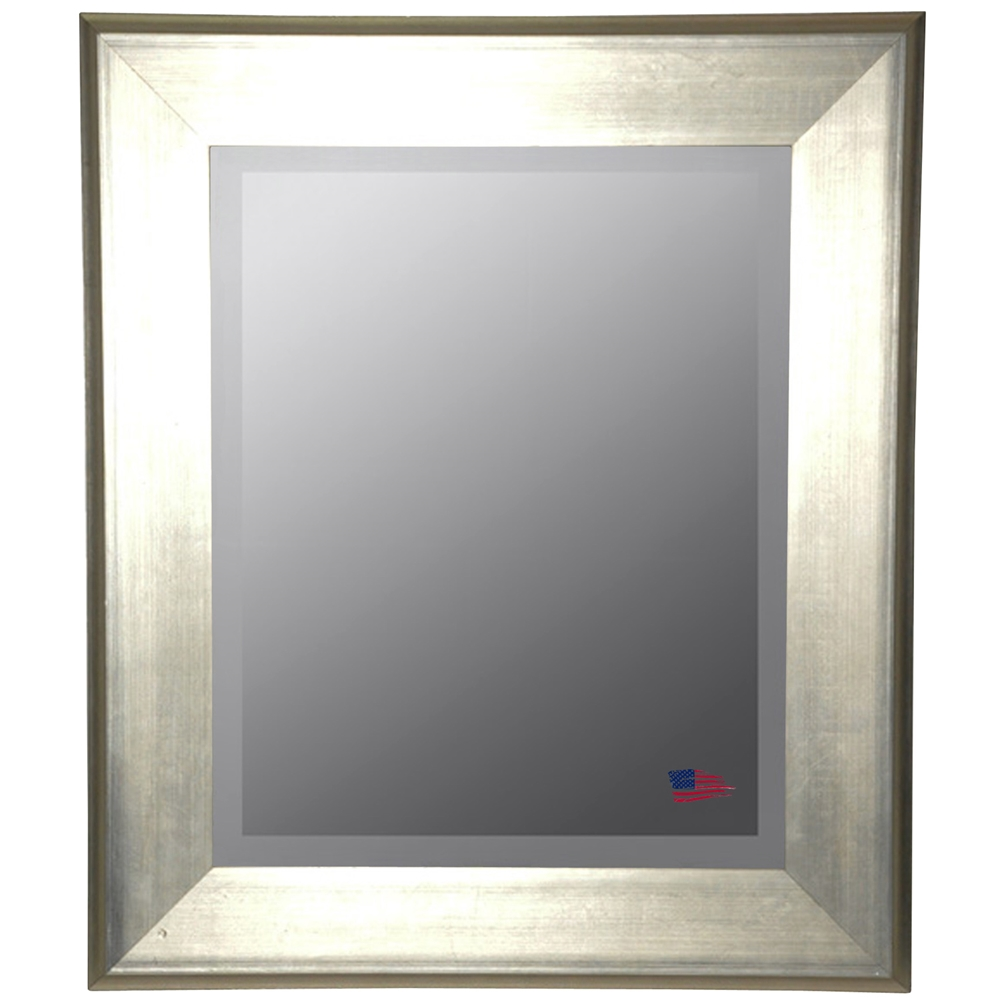 Wall Mirror Brushed Silver Frame Beveled Glass Dcg Stores