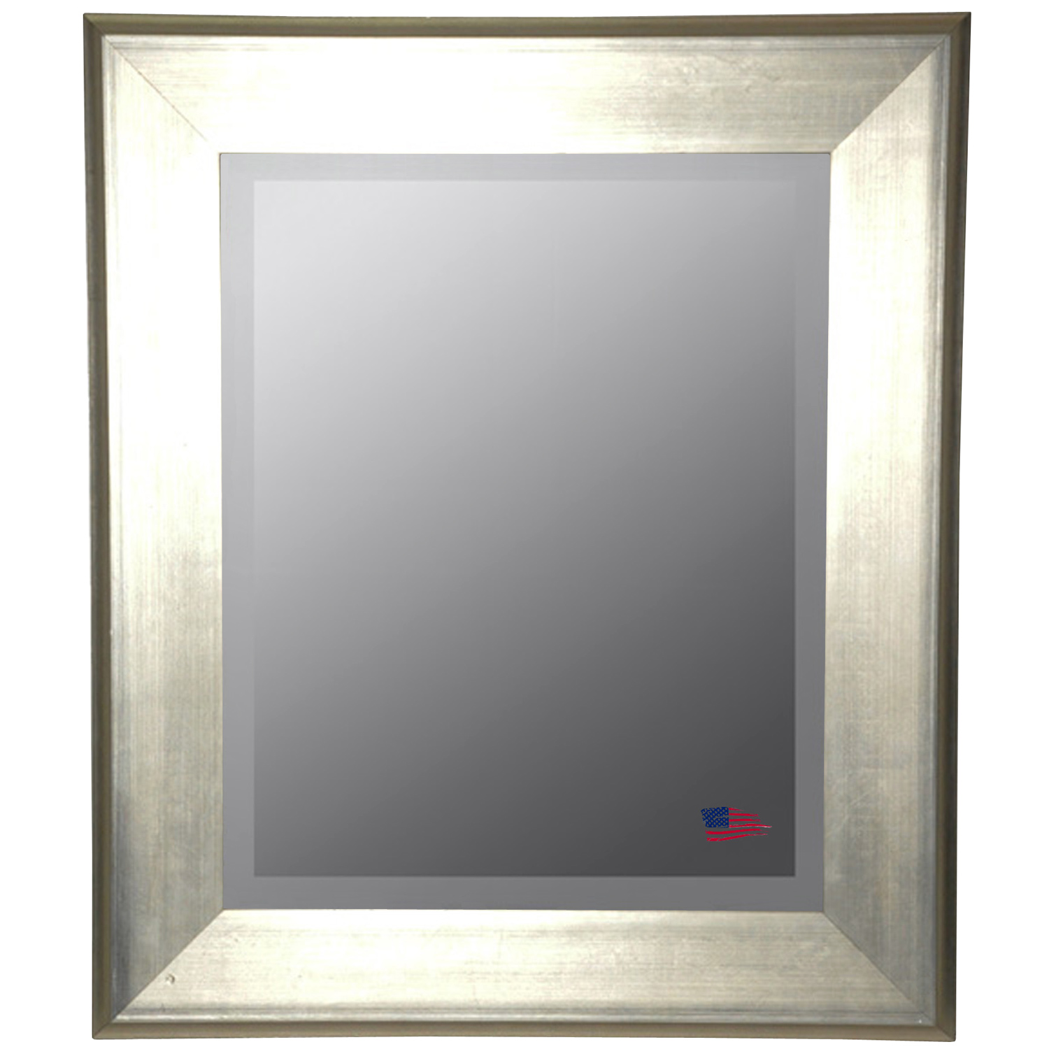 Wall Mirror - Brushed Silver Frame, Beveled Glass - RAY-R004