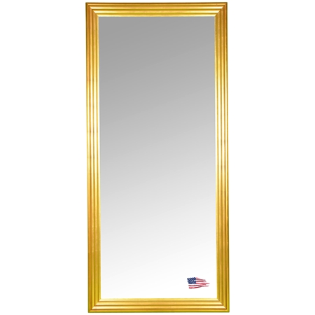 Full length floor mirror gold finished stepped frame for Gold frame floor mirror