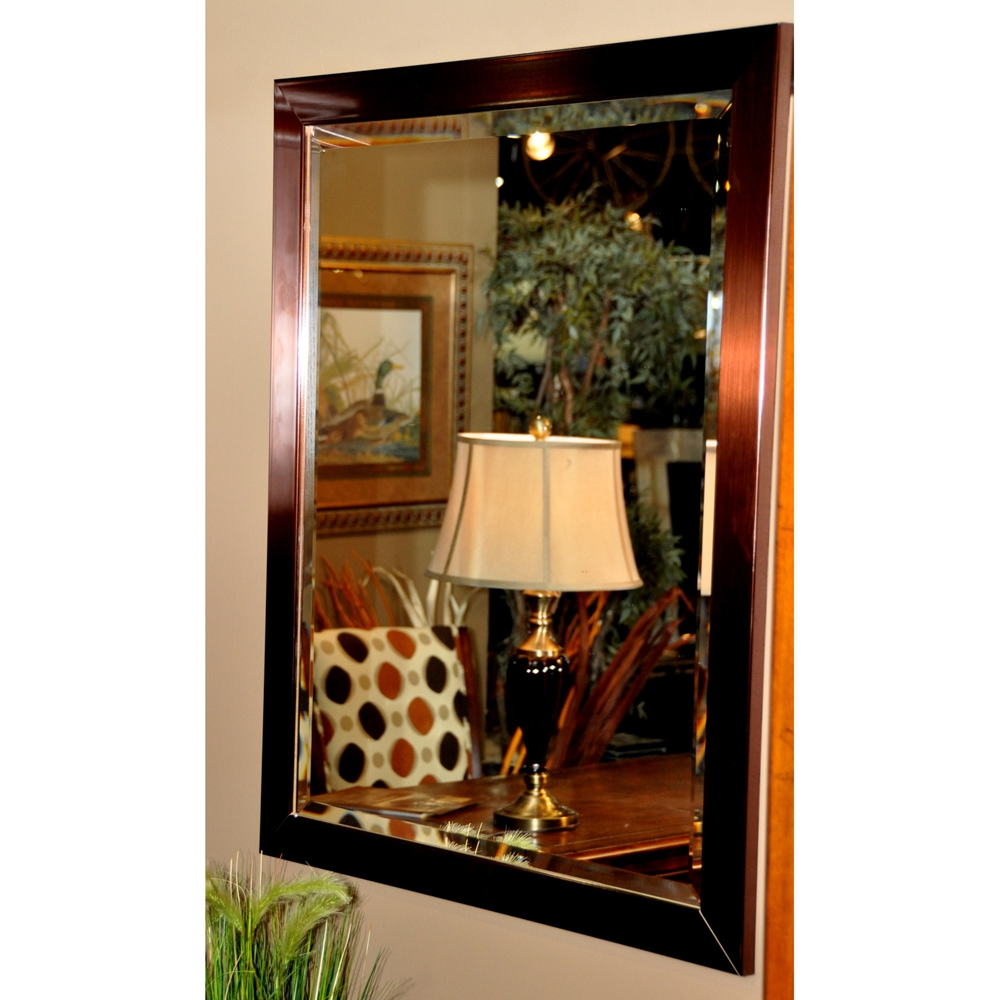 Hanging Mirror Copper Bronze Finished Frame Beveled