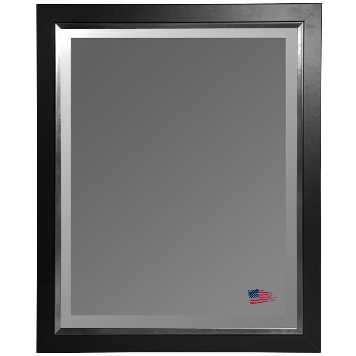 Hanging Mirror - Black Frame, Silver Liner, Beveled Glass - RAY-R010