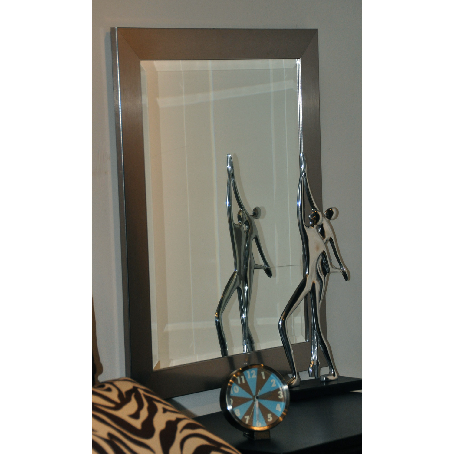 Contemporary hanging mirror thick silver frame beveled for Hanging mirror