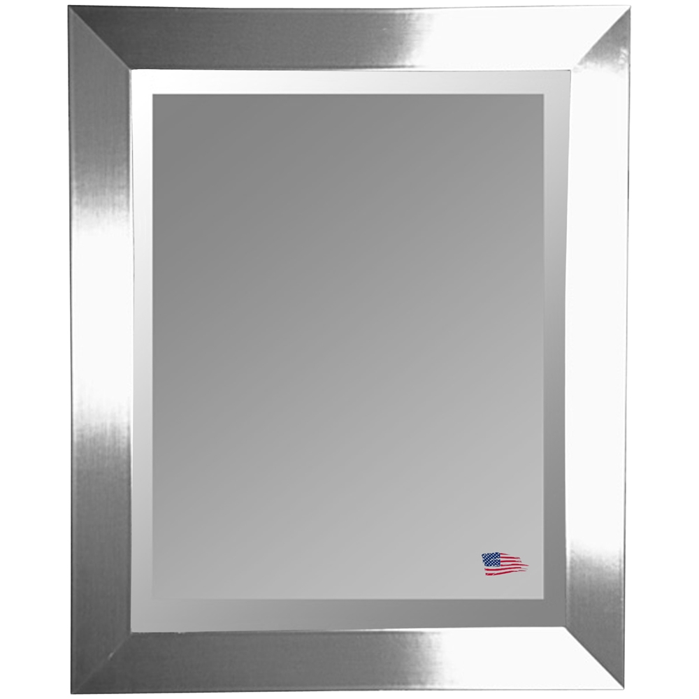 Contemporary Hanging Mirror Thick Silver Frame Beveled