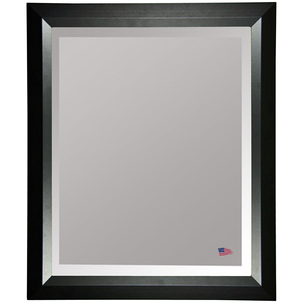 Wall Mirror Black Angled Frame Beveled Glass Dcg Stores