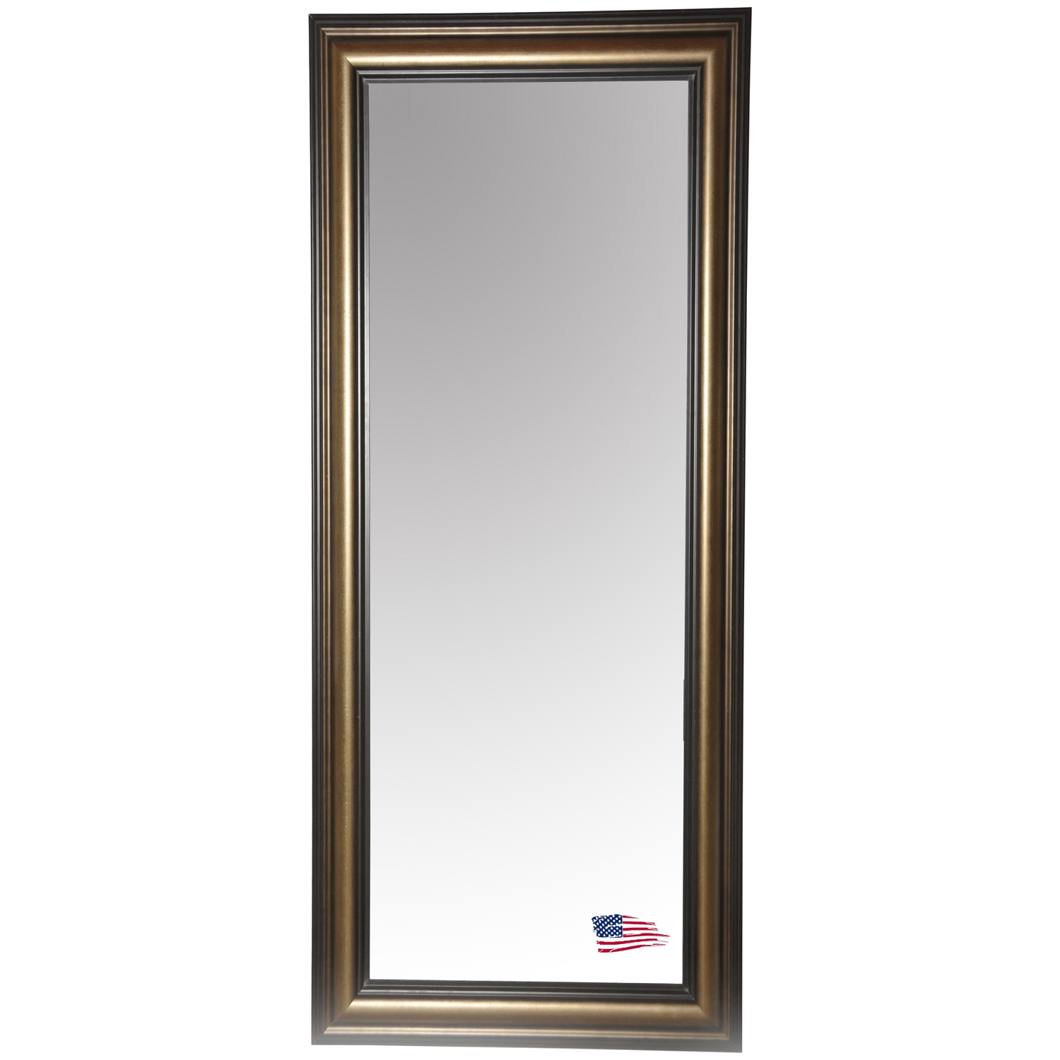 Rectangular Mirror - Stepped Antiqued Silver & Black Frame - RAY-R007T