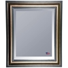 Hanging Mirror - Stepped Antiqued Silver & Black Frame, Beveled Glass - RAY-R007