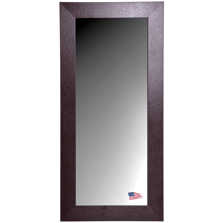 Rectangular Mirror - Wide Brown Leather Frame : DCG Stores