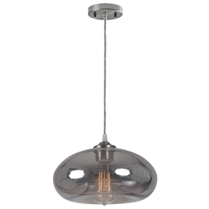 Cambria Pendant Lamp - Black Smoked Glass, Retro Bulb