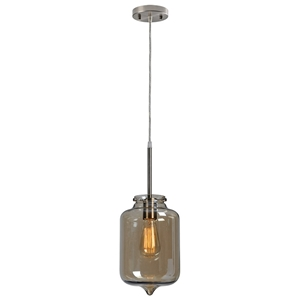Perla Pendant Lamp - Light Brown Smoked Glass, Retro Bulb