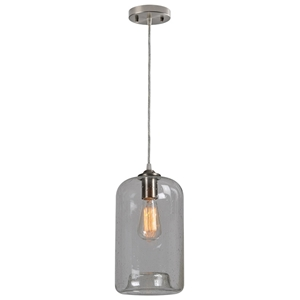 Falon Pendant Lamp - Seeded Glass, Retro Bulb