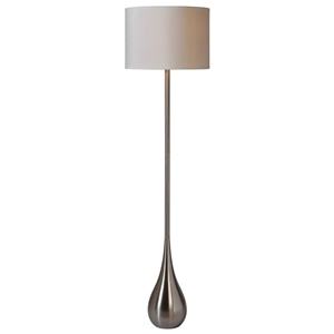 Alba Teardrop Floor Lamp - Stainless Steel, White Linen Shade
